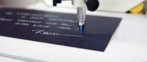 Handschrift Roboter Sophie im Einsatz